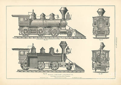 Philadelphia Drawing - Mogul Freight Locomotive Fig. 49-52 by MMG Archive Prints