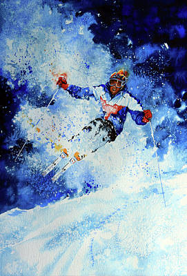 Skiing Action Painting - Mogul Mania by Hanne Lore Koehler