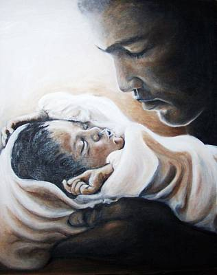 Painting - Mohammad Ali And Baby Laila by Martha Suhocke