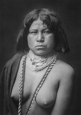 Necklace Photograph - Mohave Woman Circa 1903 by Aged Pixel