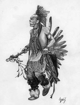 Pencil Native American Drawing - Mohawk Dancer by Lew Davis