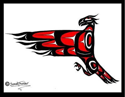 Mohawk Eagle Red Art Print by Speakthunder Berry