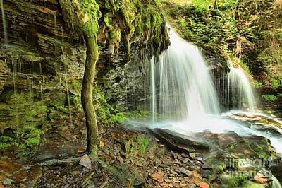 Mohawk Falls At Ricketts Glen Art Print by Adam Jewell