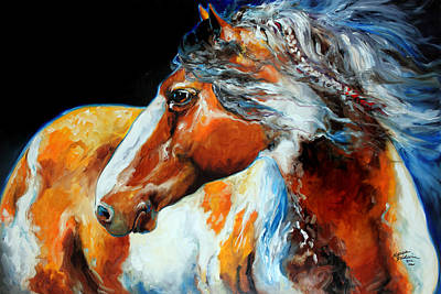 Indian Pony Painting - Mohican The Indian War Pony by Marcia Baldwin