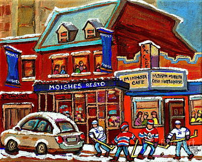After School Hockey Painting - Moishes Steaks Served With A Saturday Hockey Game On The Main Montreal Paintings St Laurent Blvd  by Carole Spandau