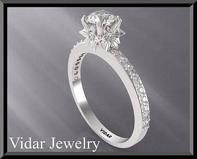 14k White Gold Jewelry - Moissanite And Diamond 14k White Gold Engagement Ring by Roi Avidar
