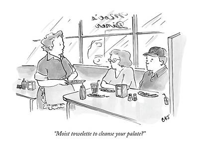 Moist Towelette To Cleanse Your Palate? Print by Carolita Johnson