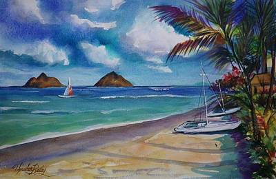 Painting - Mokaluas From Lanikai Original Sold by Therese Fowler-Bailey