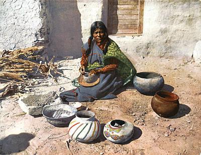 Western Art Digital Art - Moki Indian Potter 1899 by Unknown