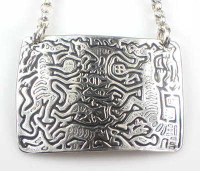 Jewelry - Mola Folklore Creatures Fine Silver Necklace by Vagabond Folk Art - Virginia Vivier