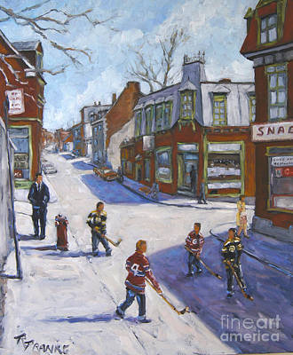 Hockey Player Painting - Molasses Town Hockey Rivals In The Streets Of Montreal By Pranke by Richard T Pranke