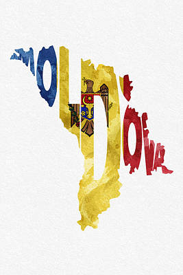Romania Digital Art - Moldova Typographic Map Flag by Ayse Deniz