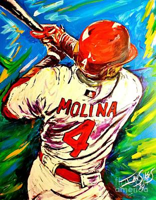 Molina At Bat Original by Ian Sikes