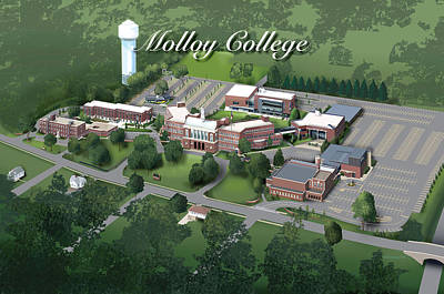 Campus Maps Drawing - Molloy College by Rhett and Sherry  Erb