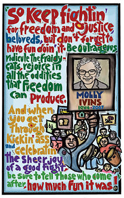 Celebrating Mixed Media - Molly Ivins by Ricardo Levins Morales