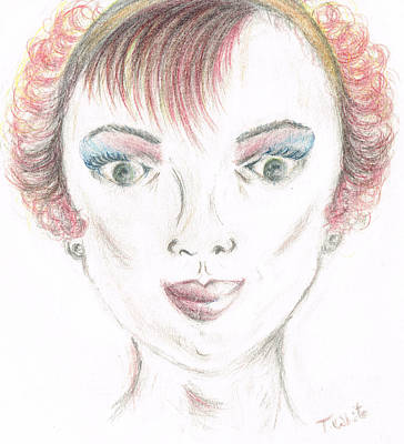 Art Print featuring the drawing Mollys Makeover/ Pink Day by Teresa White