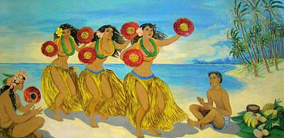 Mural Digital Art - Moloka'i Hula 2 by James Temple
