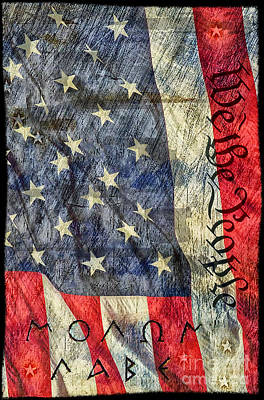 The 2nd Amendment Photograph - Molon Labe We The People Us Flag by Brian Mollenkopf