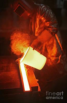 Pour Photograph - Molten Glass by James L. Amos