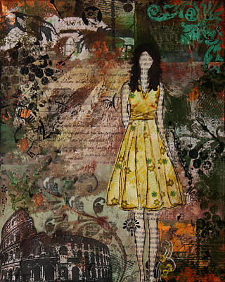 Folk Art Mixed Media - Molto Bello Mixed Media Rome Inspired Abstract Artwork by Janelle Nichol