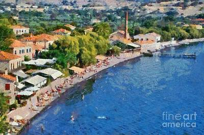 Painting - Molyvos Beach by George Atsametakis