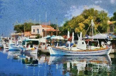 Painting - Molyvos Port by George Atsametakis