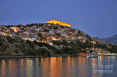 Photograph - Molyvos Village During Dusk Time by George Atsametakis
