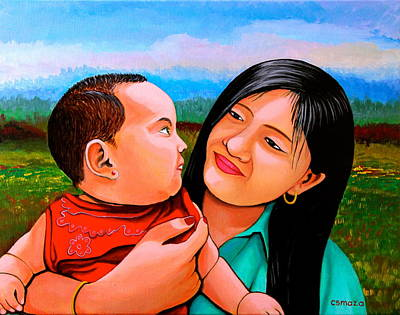 Filipino Artist Painting - Mom And Babe by Cyril Maza
