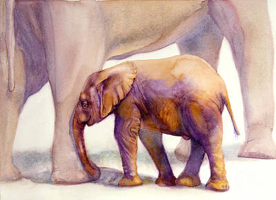 Painting - Mom And Baby Boy Elephants by Bonnie Rinier