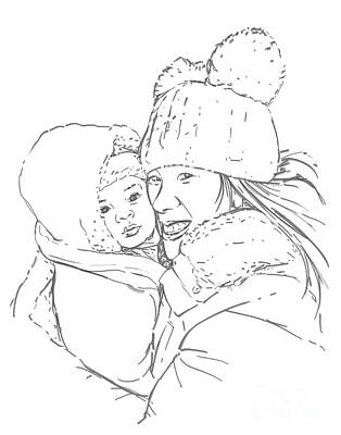 Art Print featuring the drawing Mom And Baby by Olimpia - Hinamatsuri Barbu