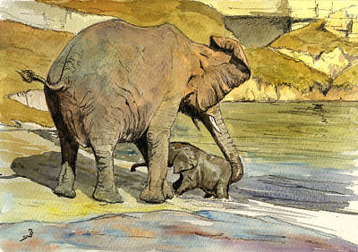 Orientalist Painting - Mom And Cub Elephants Having A Bath by Juan  Bosco