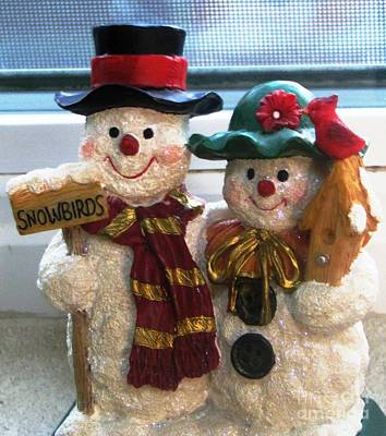 Snowwoman Photograph - Mom And Pop Snow Family by Judyann Matthews