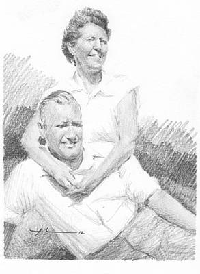 Drawing - Mom Dad Wind And Sun Pencil Portrait by Mike Theuer