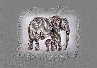 Painting - Mom Elephant by Harsh Malik
