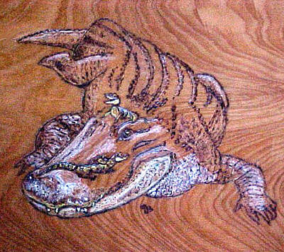 Alligator Mixed Media - Mom Gator And Babies  by Jeanie Beline