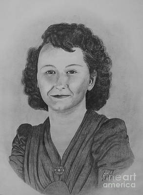 Drawing - Mom In 1942 by Lew Davis