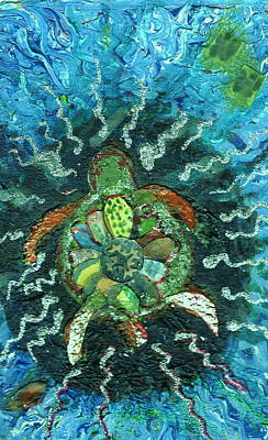 Mom There Is A Turtle In The Swimming Pool  Art Print by Anne-Elizabeth Whiteway