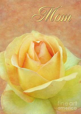 Digital Art - Mom Yellow Rose by JH Designs