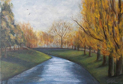 Art Print featuring the painting Moment Of Silence Avon River Christchurch by Jane  See