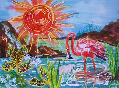 Momma And Baby Flamingo Chillin In A Blue Lagoon  Original by Ellen Levinson