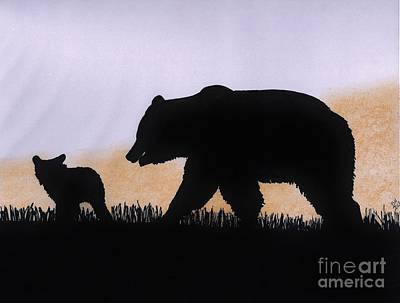 Drawing - Momma Bear And Cub by D Hackett