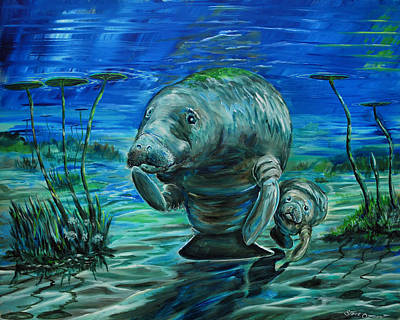 Painting - Momma Manatee by Steve Ozment