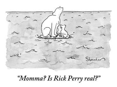 September 19th Drawing - Momma Polar Bear And Baby Polar Bear On A Small by Danny Shanahan