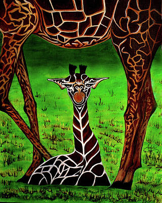 Mother And Baby Giraffe Painting - Momma's Boy by Adele Moscaritolo