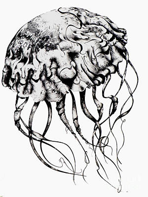 Aquatic Life Drawing - Mommy Jellyfish by Penelope Fedor