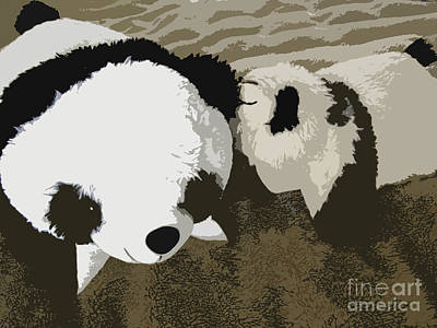 Panda Cub Wall Art - Photograph - Mommy Mommy I Will Tell You A Secret by Ausra Huntington nee Paulauskaite
