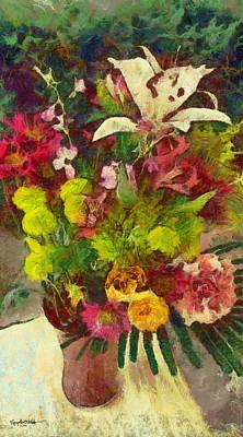 Art Print featuring the digital art Mom's Flowers by Spyder Webb