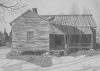 Drawing - Mom's Home Place by Lew Davis