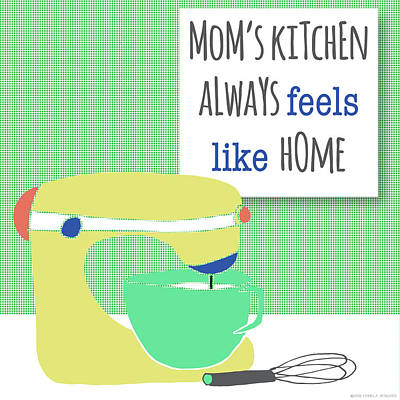 Family Love Painting - Mom's Kitchen Mixer by Pamela J. Wingard