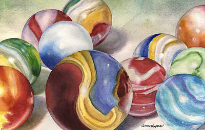 Marble Painting - Mom's Marble Shooter by Anne Gifford